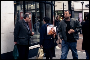 Pro-Life campaigner passively demonstrates against abortion, Dublin Ireland.