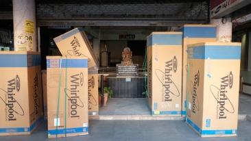 Hindu God Hanuman hides behind Modern conveniences, New Market Bhopal India Madhya Pradesh is predominantly a Muslim state.