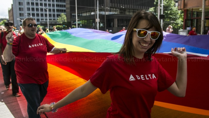 2014 Seattle Pride Festival has grown exponentially over the last decade. It now regularly attracts crowds in excess of four hundred thousand people.